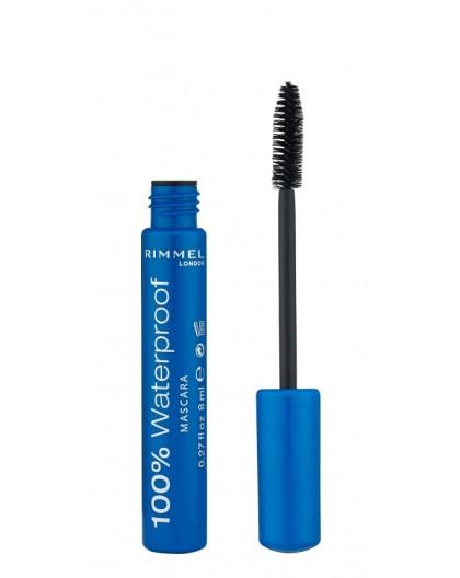 Rimmel London 100% Waterproof Mascara, Black, 8 ml
